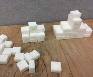 Sculpture with sugar cubes-plaster